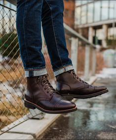 Men& Brown Captain Lace-Up Boot - Thursday Boot Company Brown Boots Outfit, Mens Brown Boots, Dress With Boots, Dress Shoes, Mens Work Boots, Mens Boots Style, Mens Boots Fashion, Leather Boots, Soft Leather