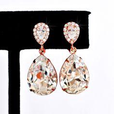 Swarovski Crystal & CZ Teardrop Rose Gold Clip-On Earrings (Sparkle-2434-U) #Handmade #ClipOn