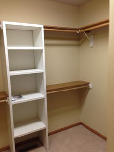 Master closet with added shelves for shoes and bags