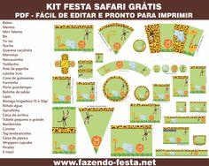 Economize muito em sua festa com esse link kit festa safari completo grátis e pronto para editar e imprimir!