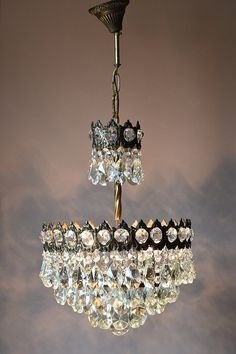 FREE EXPRESS DELIVERY Chic Aged Pendant Antique French Vintage Crystal Chandelier Fixture Lamp Old Vintage Crystal Chandelier, Ceiling Rose, French Vintage, Vintage Crystal, Bronze, Original Piece, Chandelier, Chandelier Shades, Vintage