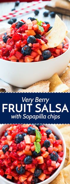 Very Berry Fruit Salsa with Sopapilla Chips | A quick and easy, healthy snack or dessert perfect for any party. It makes a great red, white and blue recipe for patriotic holidays!