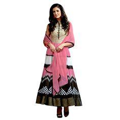 Georgette Embroidered Pink Anarkali Salwar Kameez ( EBSFSK25 )