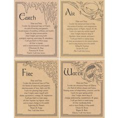 Set of Four Elements Parchment Posters x Earth Air Fire Water Poster Magic Spell Book, Wiccan Spell Book, Spell Books, Witch Spell, Magick Spells, Witchcraft, Magick Book, Earth Air Fire Water, Imprimibles Harry Potter