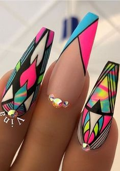 Make an original manicure for Valentine's Day - My Nails Summer Acrylic Nails, Best Acrylic Nails, Nail Swag, Neon Nails, My Nails, Nail Art Designs, Jolie Nail Art, Fire Nails, Crazy Nails
