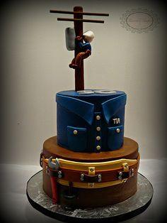 Lineman cake cake, cake for all your cake decorating supplies visit… Take The Cake, Love Cake, Unique Cakes, Creative Cakes, Fancy Cakes, Cute Cakes, Cake Cookies, Cupcake Cakes, Dad Cake