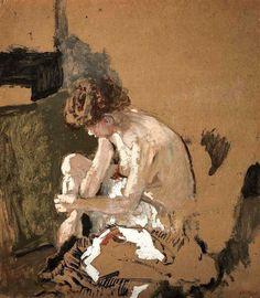 Model taking off her stockings, Edouard Vuillard