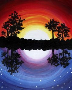 Warm and cool sunset water reflection like moon. Beginner painting. 7 West Bistro 10/23/2017 | Paint Nite Event