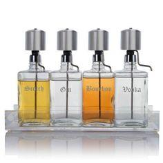 Liquor Decanter Bar Set with Chrome Pump Dispenser & Acrylic Tray Old English