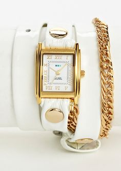 The cutest watch... ideeli | la mer collections White/Gold Glam Chain Wrap Watch