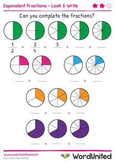 This equivalent fractions worksheet helps children practice equivalent fractions. Here, children look at equal fractions and write the matching fractions. Fractions For Kids, Math Fractions Worksheets, Add And Subtract Fractions, 3rd Grade Fractions, Learning Fractions, Simplifying Fractions, Equivalent Fractions, Third Grade Math, Teaching Math