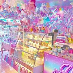 Unicorn cafe in Thailand Want to be hereeeee! In my city we have unicorn cafe,but that is more beautiful 🦄 Unicorn Cafe, Unicorn Restaurant, Unicorn Foods, Unicorn Bedroom, Unicorns And Mermaids, Rainbow Food, Kawaii Room, Cute Desserts, Rainbow Unicorn