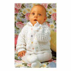 Genuine Vintage Babys 'Sleeping Beauty with Flower Yoke' Cardigan and Sweater Knitting Pattern in Bramble Stitch PDF