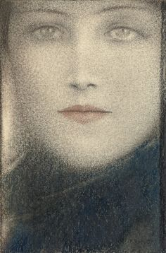 Tête de femme (c.1910). Fernand Khnopff (Belgian, Symbolism, 1858-1921). Pastel, wax crayons and coloured crayons on paper.