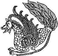 The Simurgh is an ancient, immortal Persian mythological beast similar to a gryphon or Phoenix. It is most often described as having the head and foreparts of a dog, the wings and tail of a peacock, and a body covered with scales. The Simurg is associated with the Tree of Life and present in many old tales of the creation. He is benevolent, protective guardian figure with healing powers.
