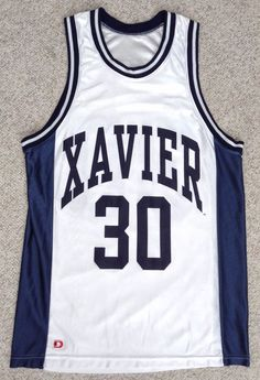htf XAVIER MUSKETEERS BASKETBALL JERSEY White/Navy Blue#30 MENS Sm/Med SEE SIZE #D #XavierMusketeers