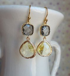 Gorgeous Yellow and Gray Glass Dangle Earrings by DesignsbyJocelyn, $34.00