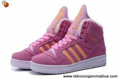 Buy Discount Adidas X Jeremy Scott Big Tongue Anti Fur Winter Shoes Pink
