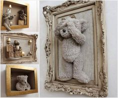 Framed Teddy Bears. A wonderful (and trendy!) way to keep your favorite stuffed animals