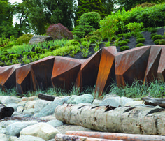 Modern landscape design - Landscape architect Paul Sangha has created METAMORPHOUS, a corten steel sculpture designed to provide a solution to foreshore erosion for a waterfront property in Vancouver, Canada