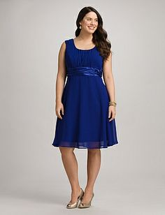 Plus Size Ruched Scoop Neck Dress | Dressbarn If I could only find a jacket to go with this