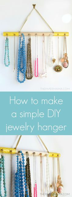 Keep your necklaces from tangling with this simple DIY jewelry hanger made using a dowel rod. Make it pretty with printable papers and Mod Podge!