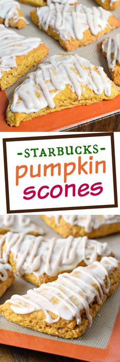 If you love Starbuck's Pumpkin Scones, you've got to give this copycat recipe a try! The double glaze gives them the sweetness they need! Best Dessert Recipes, Brunch Recipes, Fun Desserts, Sweet Recipes, Delicious Desserts, Yummy Food, Dessert Ideas, Quick Dessert, Awesome Desserts