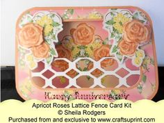 Lattice Fence Card - Apricot Roses