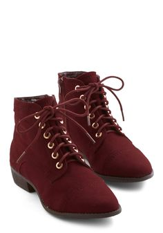 Charm Beyond Compare Bootie in Wine. The style that these burgundy booties lend to your wardrobe is unmatched! #red #modcloth