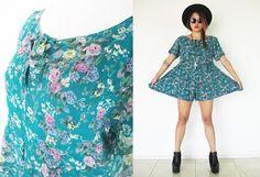 Vintage 80's 90's dark green grunge romper jumpsuit playsuit floral flower  pleated wrinkled mini dress babydoll summer festival
