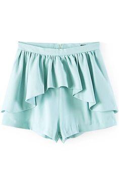 High Waist Asymmetrical Ruffle Overlay Chiffon Shorts #High #Shorts #maykool
