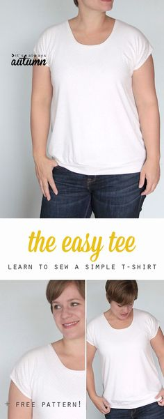 Find the best free t-shirt sewing patterns available. Free t shirt pattern for women, men, girls, boys, kids. Learn how to sew or make a t-shirt. Diy Sewing Projects, Sewing Projects For Beginners, Sewing Hacks, Sewing Tutorials, Sewing Tips, Sewing Patterns Free, Free Sewing, Free Pattern, Shirt Patterns