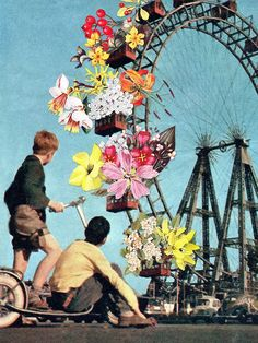 'Bloomed Joyride' by Eugenia Loli  Click on the image to see more!|Ferris Wheel|Flowers|Young Boys|Fair|Amusement Park Rides|Collage Art