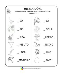 Some verification exercises to evaluate the recognition of .- Alcuni esercizi di verifica per valutare il riconoscimento delle vocali all& Some verification exercises to evaluate the recognition of vowels in the beginning, at the end and within words. Preschool Games, Preschool Learning, Teaching, Italian Phrases, Italian Words, Italy For Kids, Italian Lessons, S Alphabet, Kids Math Worksheets