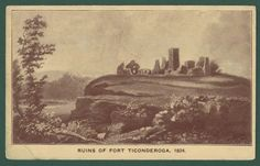 Title: Ruins Of Fort Ticonderoga. City/State: Ticonderoga,NY (New York). Categories: US State & Town Views/New York/Ticonderoga. Fort Ticonderoga, Military History, Worlds Largest, Washington, Old Things, New York, Painting, Collection, Vintage