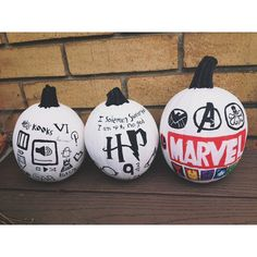 Pin for Later: 24 Last-Minute, Magical Harry Potter Pumpkin Ideas White and black