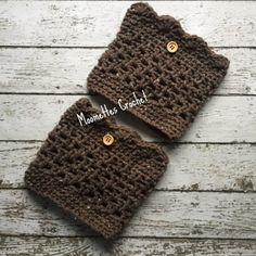 Aran Crochet Boot Cuffs Brown Fleck Legwarmers Wood Button Chunky Socks Short Calf Warmers Handmade in USA