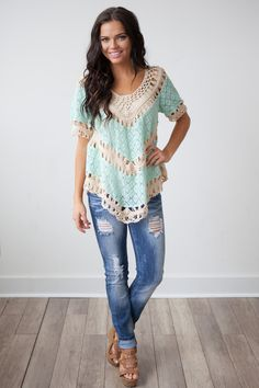 Magnolia Boutique Indianapolis - Serentiy Lace and Crochet Top - Mint, $39.00 (http://www.indiefashionboutique.com/serentiy-lace-and-crochet-top-mint/)