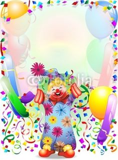 Baby Clown Carnaval Party Background-Vector © bluedarkat