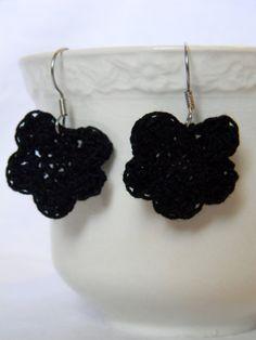 Handmade Black or Nude Crochet Flower Fishhook Earrings by FlorDeGracia on Etsy #flower #crochet #fishhook #earrings #boho