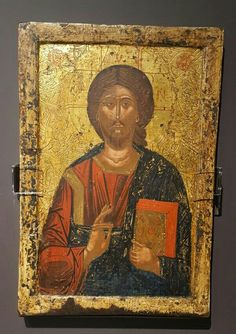 Pantokrator.  1375. Museo Bizantino di Kastoria.  Da una iconostasi European Paintings, Catholic Art, Orthodox Icons, Byzantine, Savior, Mona Lisa, Sculptures, Artwork, Image