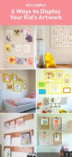 6 Ways to Display Your Kid's Artwork | Instead of letting your child's drawings clutter your fridge door or countertops, hang a few artfully and don't feel guilty about tossing the others.