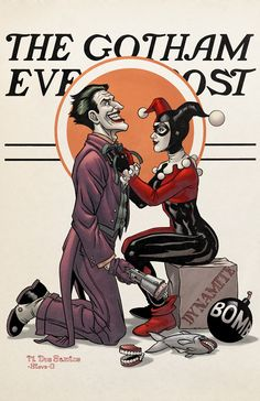 """One of my favorite illustrations of Harley and Joker... """"Gotham Evening Post""""  by Steve Downer"""