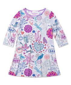 White & Purple Bird & Floral  Dress