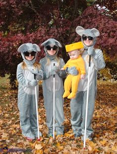 Tara: London (4), Brittyn (6), and Rowan (7) are featured as 3 Blind Mice. They're wearing store bought mouse costumes (Halloween Costumes), with star shaped black sunglasses (Party City), and eye...