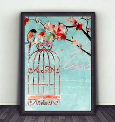 poster love bird color 30x40cm