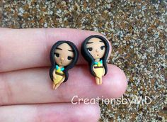 pocahontas stud earrings polymer clay fimo by CreationsbyMD