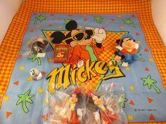 Mickey Mouse Bandanna & smalls lot, Mini Playing Cards, Figurines, antenna ball! #Disney