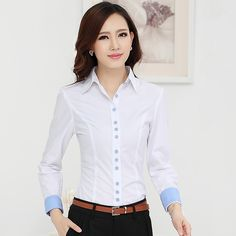 New 2015 autumn winter women shirt long sleeve cotton OL work wear clothing plus size female blouse shirts Fashion Wear, Work Fashion, Simple Formal Dresses, Button Up Shirt Womens, Formal Blouses, Scrubs Outfit, Formal Wear Women, Stylish Shirts, Androgynous Fashion
