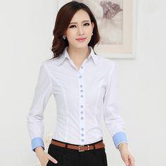 c88ec707ff Nueva 2015 otoño invierno mujeres de algodón de manga larga ropa del  desgaste OL trabajo más el tamaño blusa para mujer camisas en Blusas y  Camisas de Moda ...